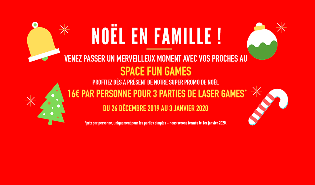 promotion de Noël au Space Laser Games